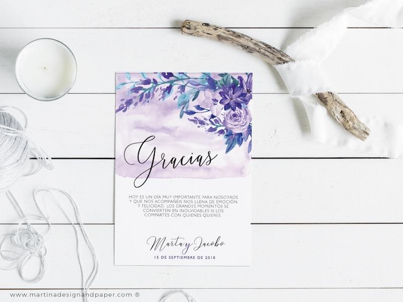 tarjetas gracias por venir boda violeta