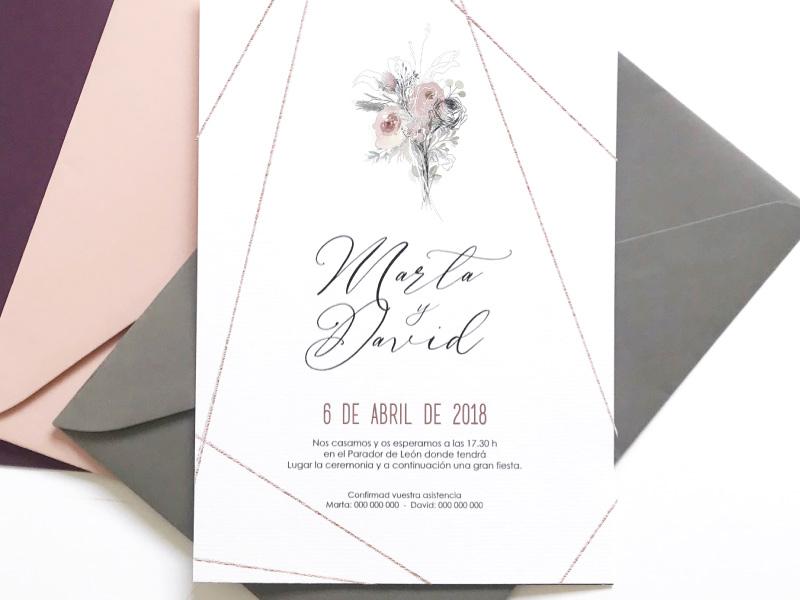 invitacion de boda clasica en tonos rosas