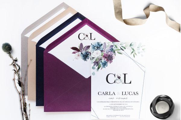 INVITACION DE BODA COLORES ORIGINALES