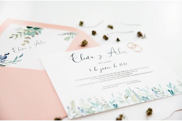 invitacion de boda con rosas y verdes