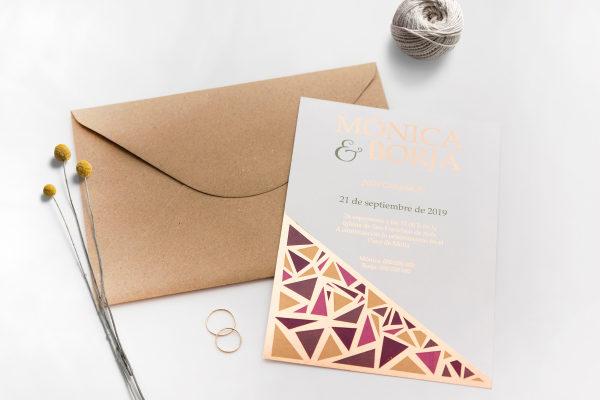 invitacion de boda dorada original