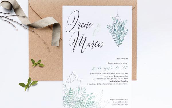 invitacion de boda rural con verde