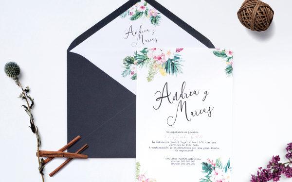invitacion de boda tropical
