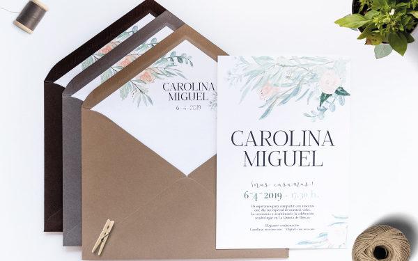 invitacion de boda vintage y campestre