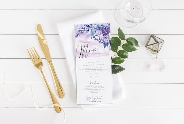 menu boda elegante