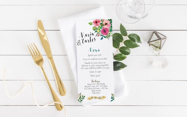 menu de boda a juego original