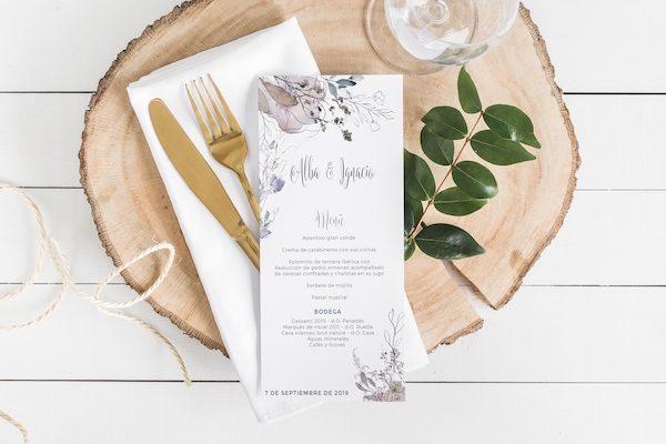 menu para boda elegante