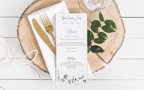minuta de boda elegante