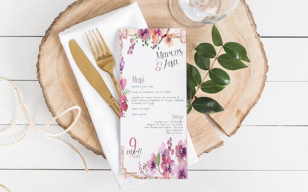 minuta de boda flores