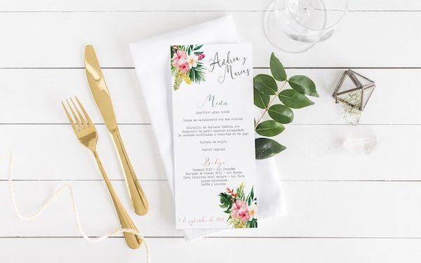 minuta de boda tropical