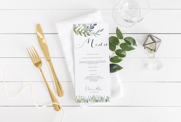 tarjeta de minuta de boda original