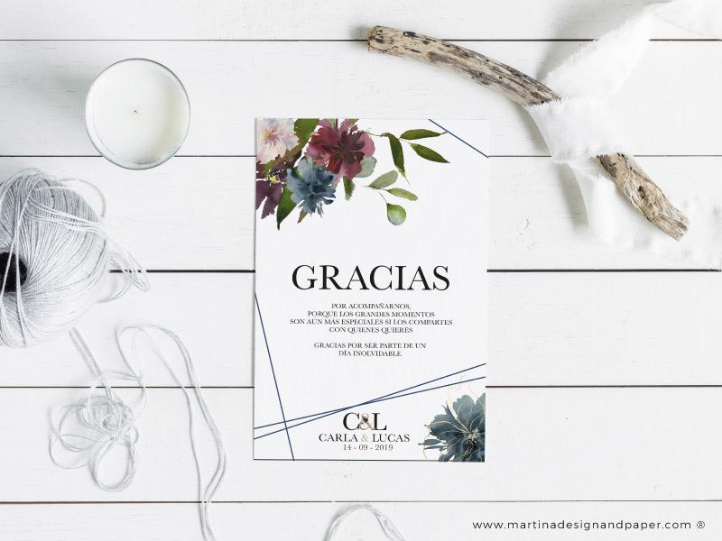 Tarjeta gracias por venir boda originales