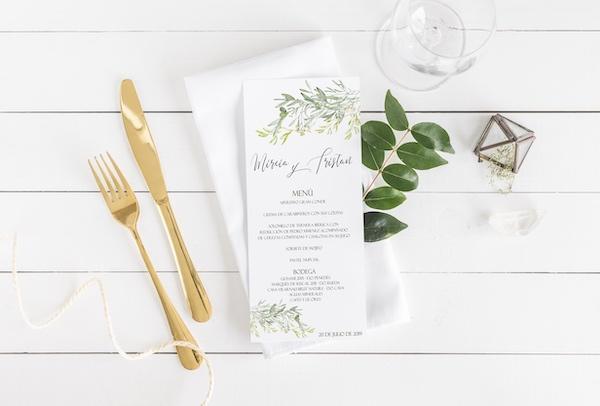 hoja de menu de boda olivo