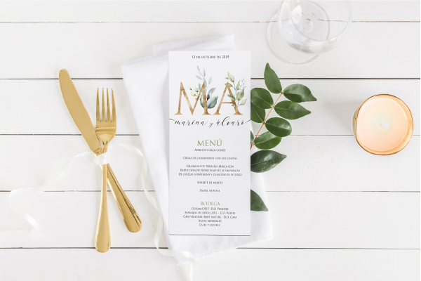 menu de boda estilo campestre