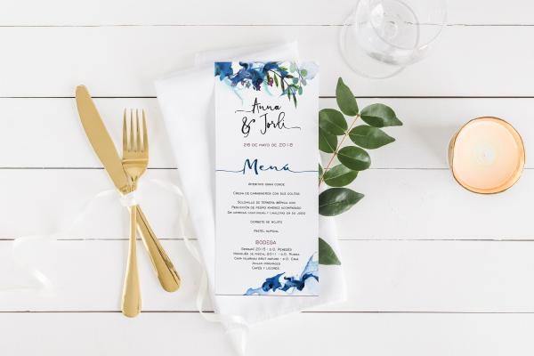 menu de boda moderno