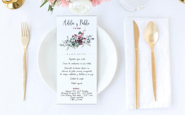 menu del boda original mesas rosas