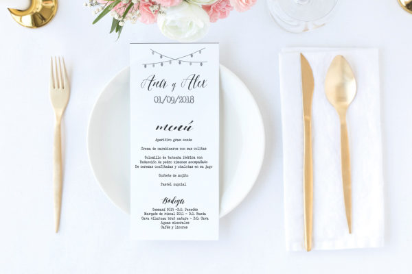 menu de boda rosas