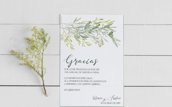 tarjetas gracias por venir boda con olivo
