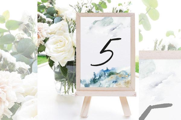 numeros de mesa para boda invierno