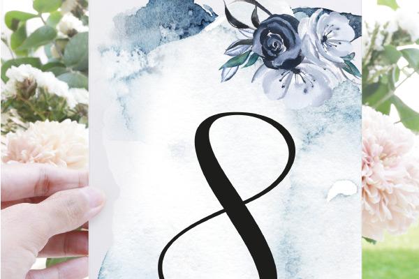 numeros de mesa para bodas color azul