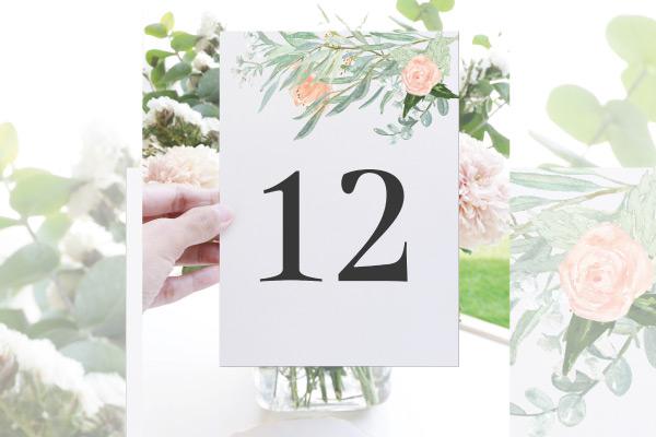 numeros de mesa para bodas color melocoton