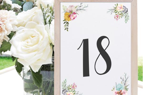 Numeros de mesa para bodas elegantes