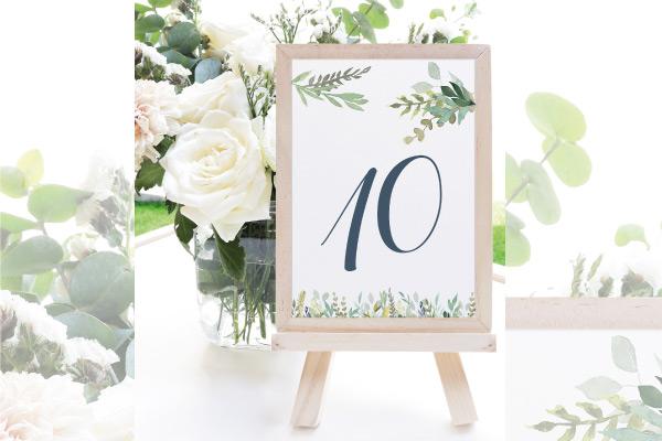 numeros de mesa para bodas en el campo