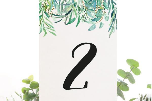 numeros de mesa para bodas eucalipto