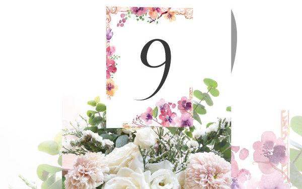 Numeros de mesa para bodas con flores