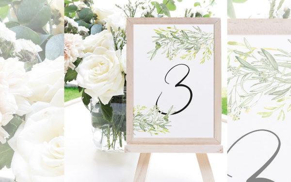 numeros de mesa para bodas olivo
