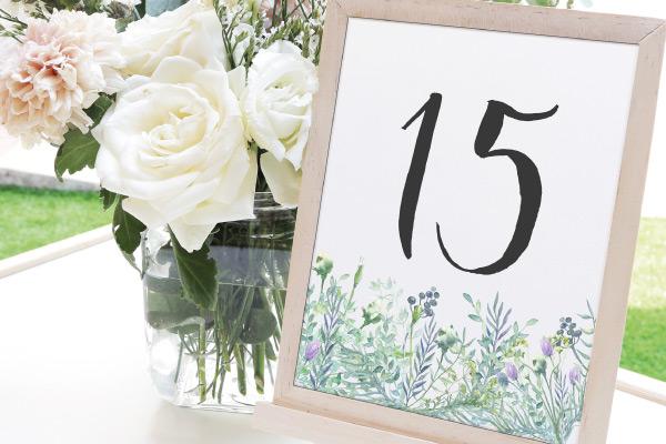 numeros de mesa para bodas color verde