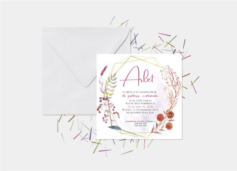 invitaciones de primera comunion niña con flores