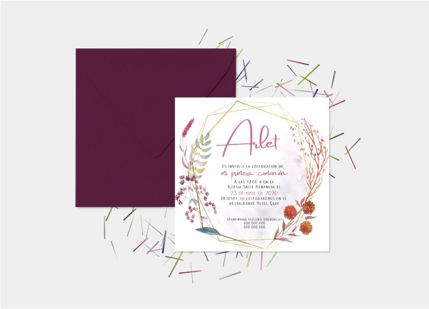 Invitación Comunión Niña Con Corona De Flores 3