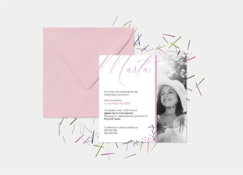 invitaciones de primera comunion niña con foto