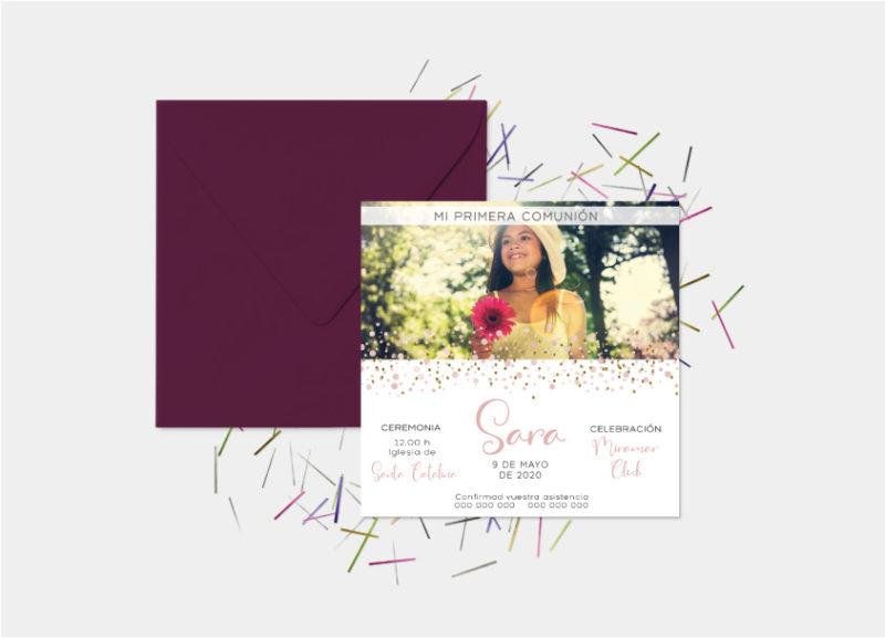 invitaciones de primera comunion niña foto