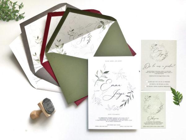 invitaciones de boda con hoja de olivo