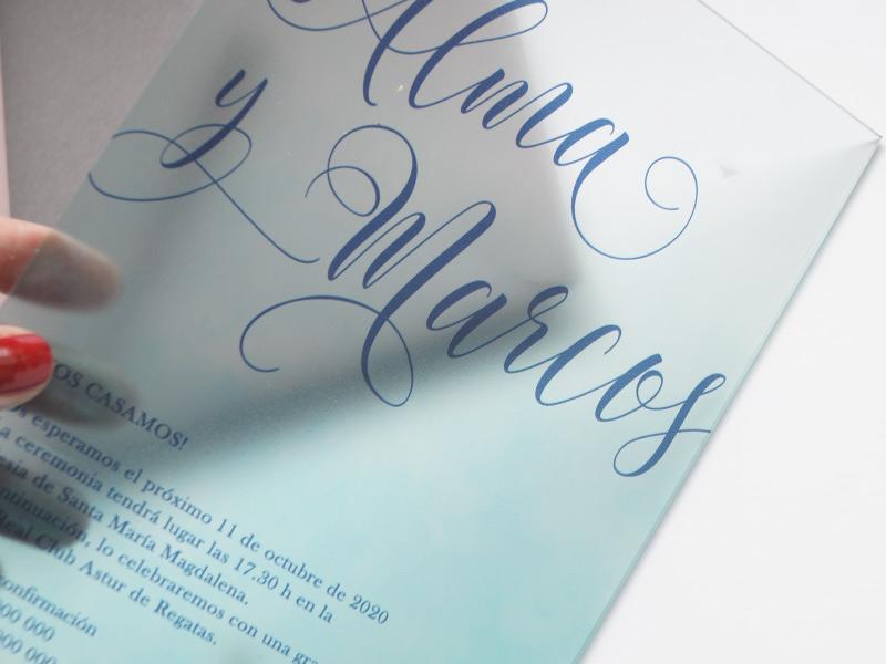 comprar invitaciones de boda transparente metacrilato