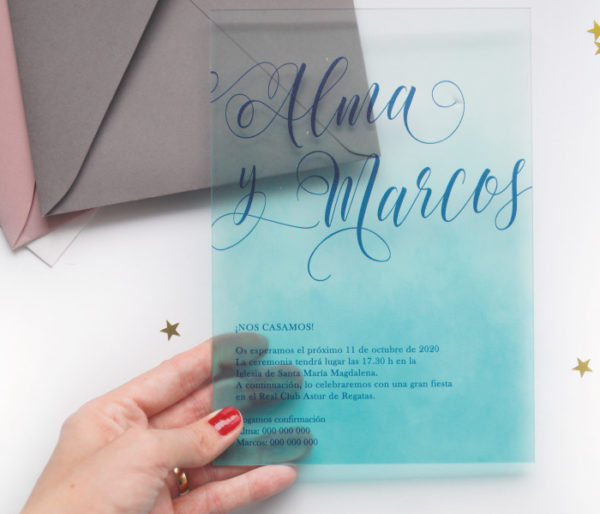 invitacion de boda original metacrilato