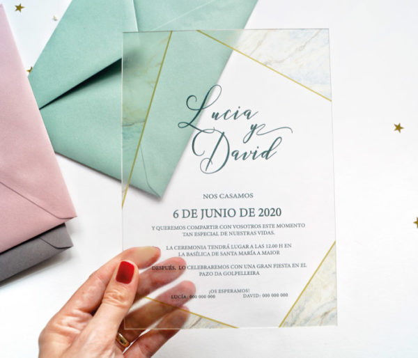 invitaciones de boda de metacrilato