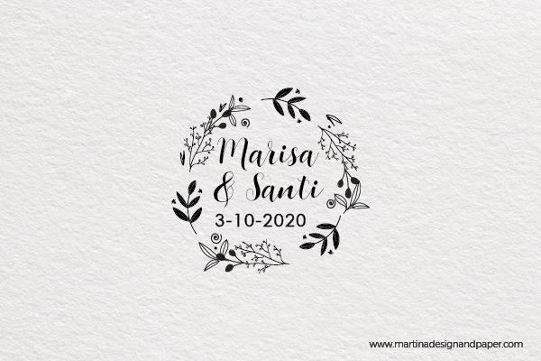 sello para invitacion de boda flores