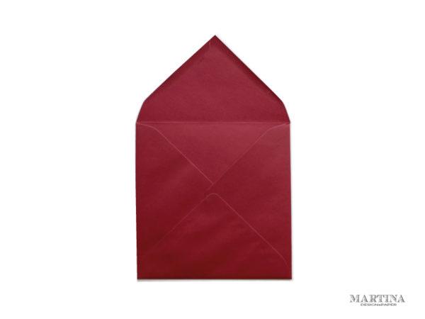 Sobre cuadrado para invitaciones de boda rojo cereza