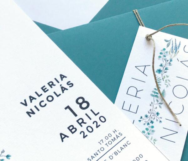invitacion de boda color turquesa