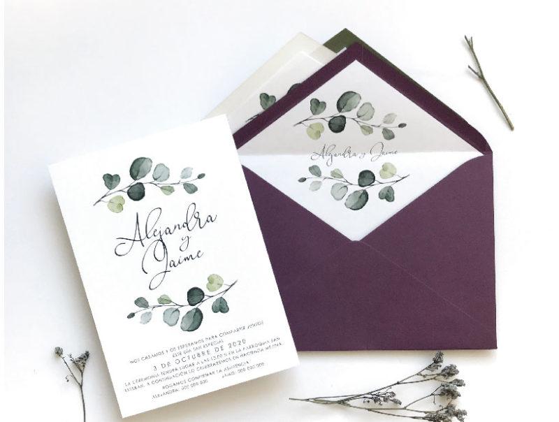tarjetas de invitacion de boda olivo