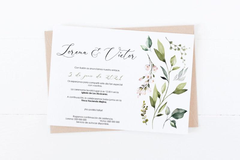 Invitacion de boda barata y bonita