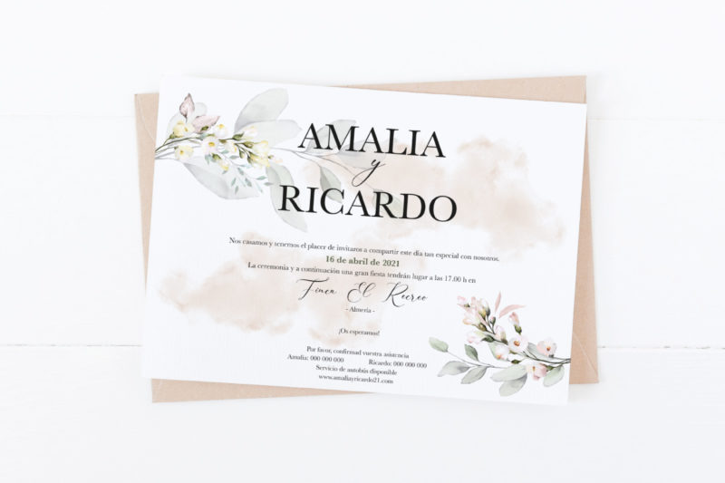 invitacion de boda clasica horizontal