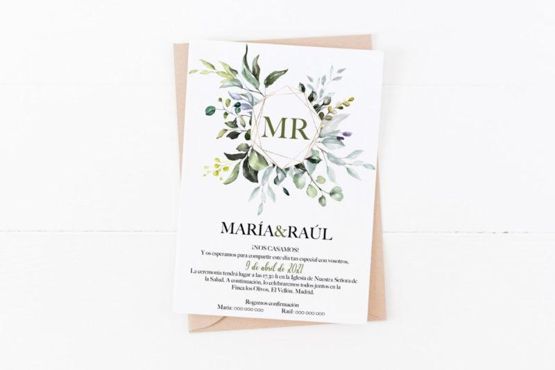 Invitacion de boda hojas de olivo