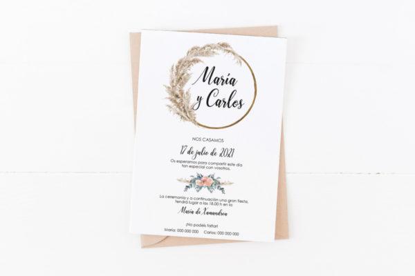 invitacion de boda original estilo boho
