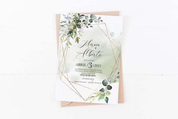 invitacion de una boda con dorado