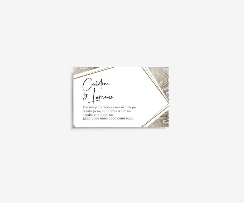 tarjeta numero de cuenta boda