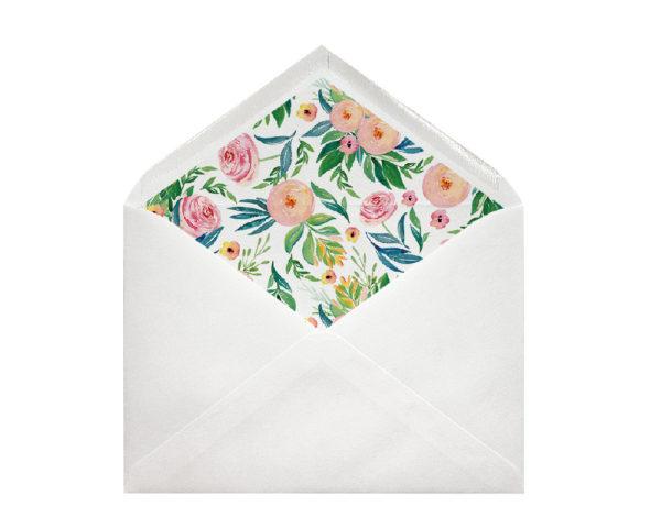 sobres forrados para invitaciones flores rosas